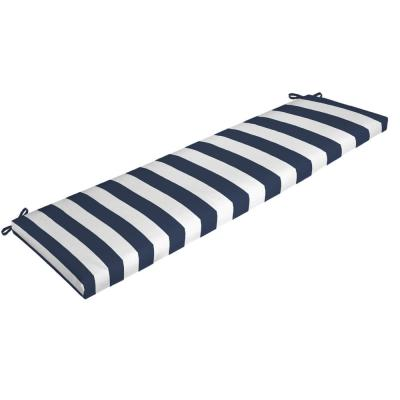 Rectangle Outdoor Bench Cushion in Sapphire Cabana Stripe