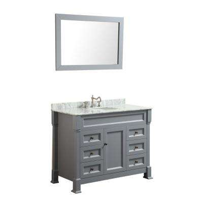 Bosconi 43 in. W Single Bath Vanity in Gray with White Carrara Marble Vanity Top in White with White Basin and Mirror