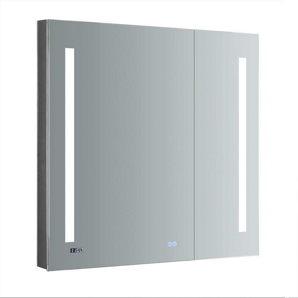 Fresca Tiempo 36 In W X H Recessed Or Surface Mount Medicine Cabinet With Led Lighting And Mirror Defogger