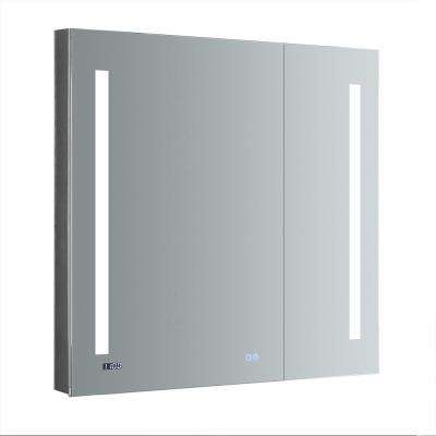 Tiempo 36 in. W x 36 in. H Recessed or Surface Mount Medicine Cabinet with LED Lighting and Mirror Defogger