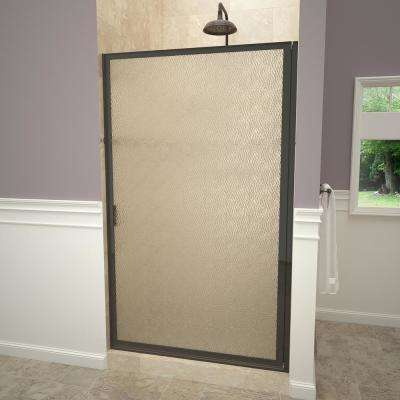 1100 Series 33-3/4 in. W x 63-1/2 in. H Framed Pivot Shower Door in Oil Rubbed Bronze with Pull Handle and Obscure Glass