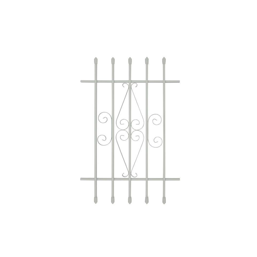 Grisham 24 in. x 36 in. Spear Point 5-Bar Security Bar Window Guard, White