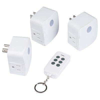 1 Amp to 15 Amp 1-Outlet Indoor Wireless Remote Control System Grounded Outlet, White (3-Pack)