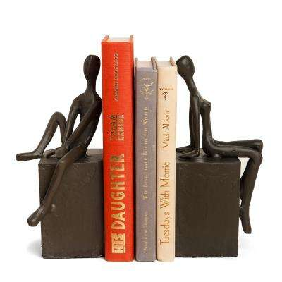 Man and Woman on Block Cast Iron Bookends (Set of 2)