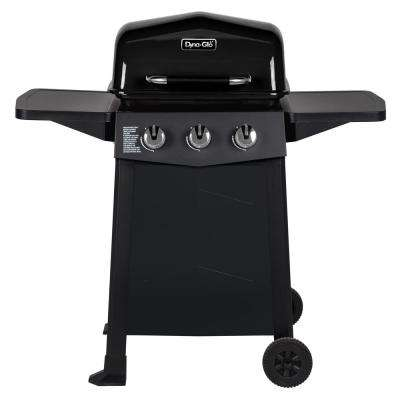 3-Burner Open Cart Propane Gas Grill in Black