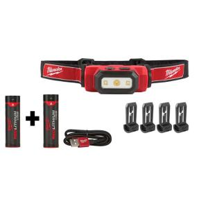 475 Lumens LED Rechargeable Hard Hat Headlamp W/ Extra REDLITHIUM USB Battery