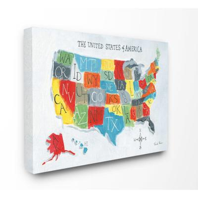 "30 in. x 40 in. ""Colorful World Map of USA Kids Nursery Painting"" by Farida Zaman Canvas Wall Art"