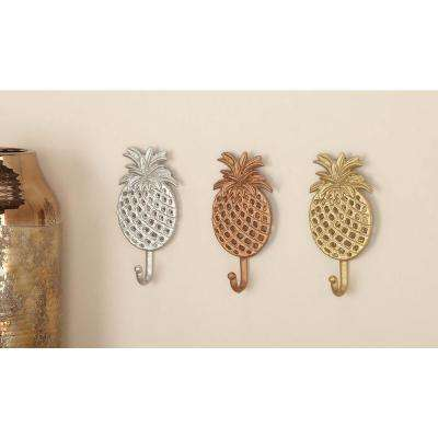 4 in. x 7 in. Tropical Iron Pineapple Wall Hooks in Gold, Silver or Bronze Finish (3-Pack)