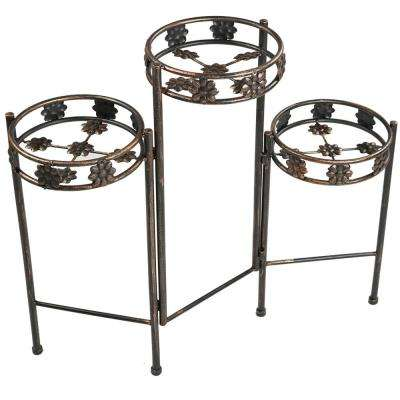 29 in. Indoor-Outdoor 3-Tiered Folding Metal Plant Stand