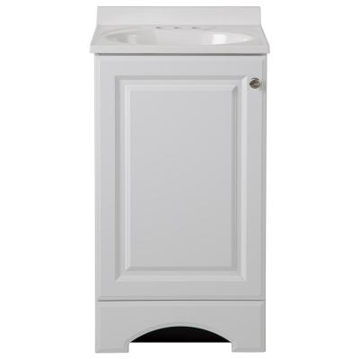 18.50 in. W Bath Vanity in White with Cultured Marble Vanity Top in White with White Basin