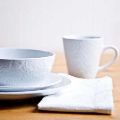 16-Piece White Burlap Dishwasher Safe Dinnerware Set