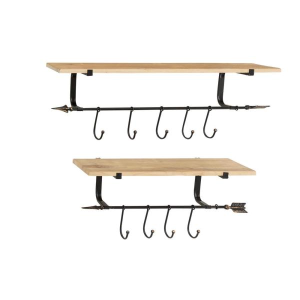 Litton Lane Large Industrial Black Metal and Natural Wood Floating Shelves