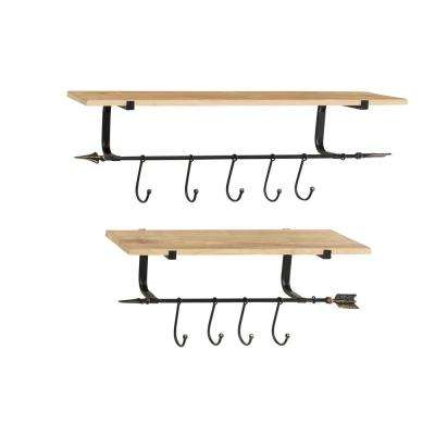 Large Industrial Black Metal and Natural Wood Floating Shelves with Hooks and Arrow Accents (Set of 2)