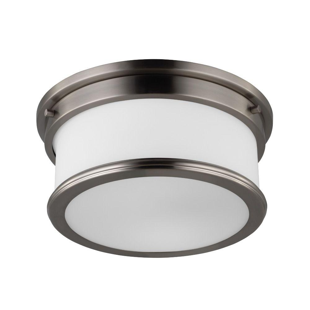 Feiss Payne 2-Light Brushed Steel Flushmount