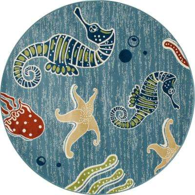 Seaport Deep Sea Aqua 7 ft. 10 in. x 7 ft. 10 in. Round Area Rug