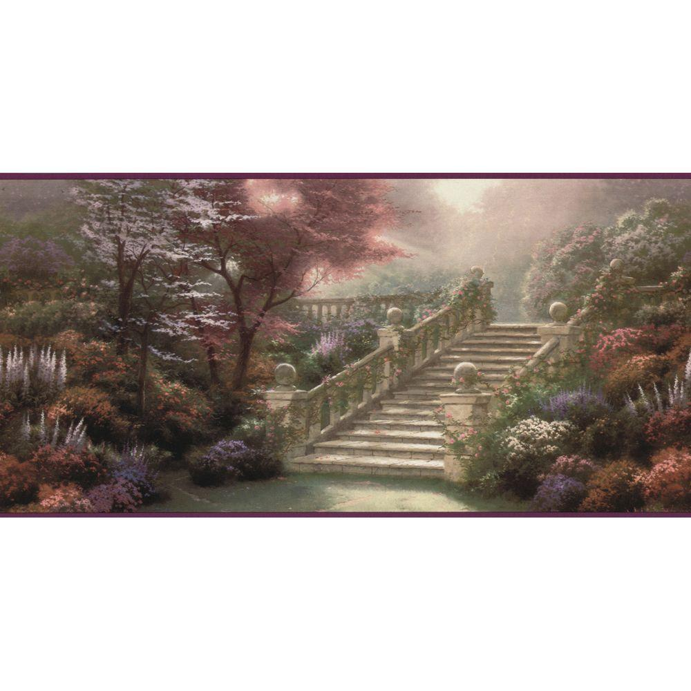 The Wallpaper Company 10.25 in. x 15 ft. Purple Stairway To Paradise Border