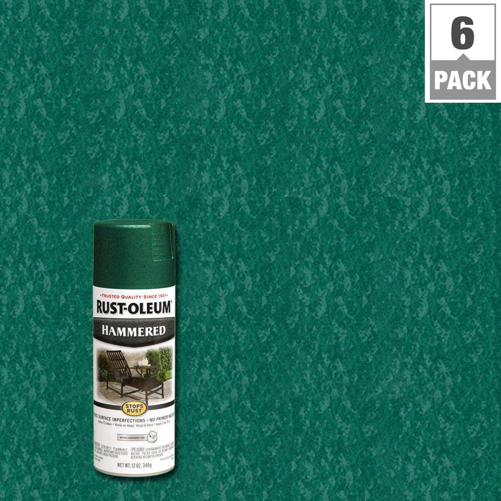 12 oz. Deep Green Protective Enamel Hammered Spray Paint (6-Pack)