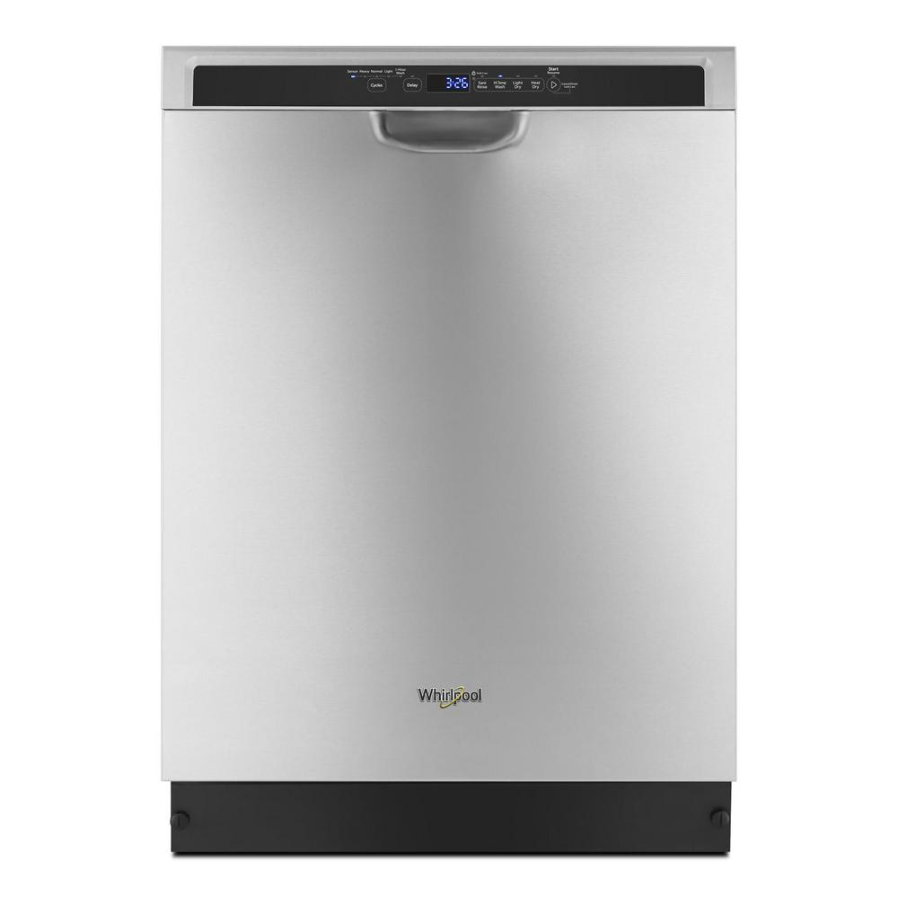 Whirlpool 24 in. Front Control Built-In Tall Tub Dishwasher in Monochromatic Stainless Steel with a Third Level Rack