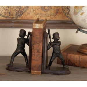 8 inch x 5 inch Brown Polystone Baseball Bookends