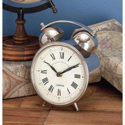 7 in. x 5 in. Classic Aluminium and Stainless Steel Table Clock with Alarm Bells