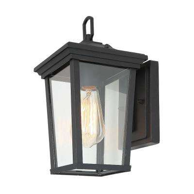 1-Light Black 4 in. Outdoor Wall Lanterns Clear Glass Sconce