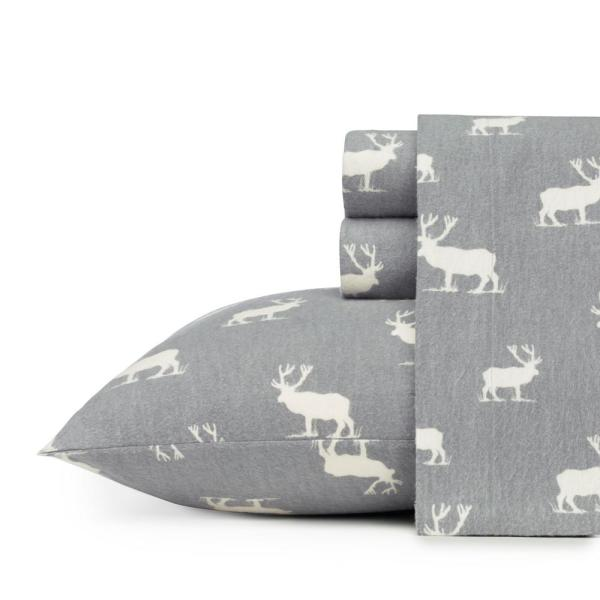 4-Piece Elk Grove Gray Graphic Flannel Full Sheet Set