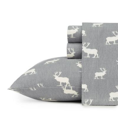 Eddie Bauer Flannel Sheet Sets 4-Piece Elk Grove Grey Graphic Full Sheet Set