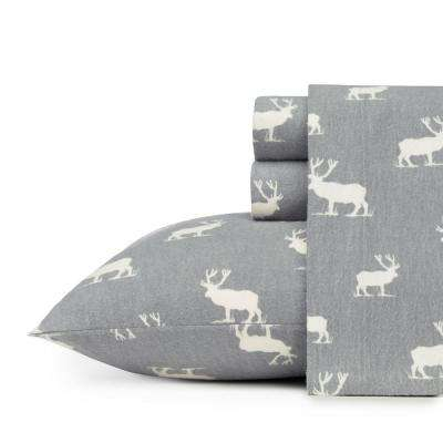 Elk Grove Grey Cotton Flannel Queen Sheet Set