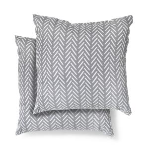 18 in. x 18 in. Afton Stone Square Outdoor Throw Pillow (2 Pack)
