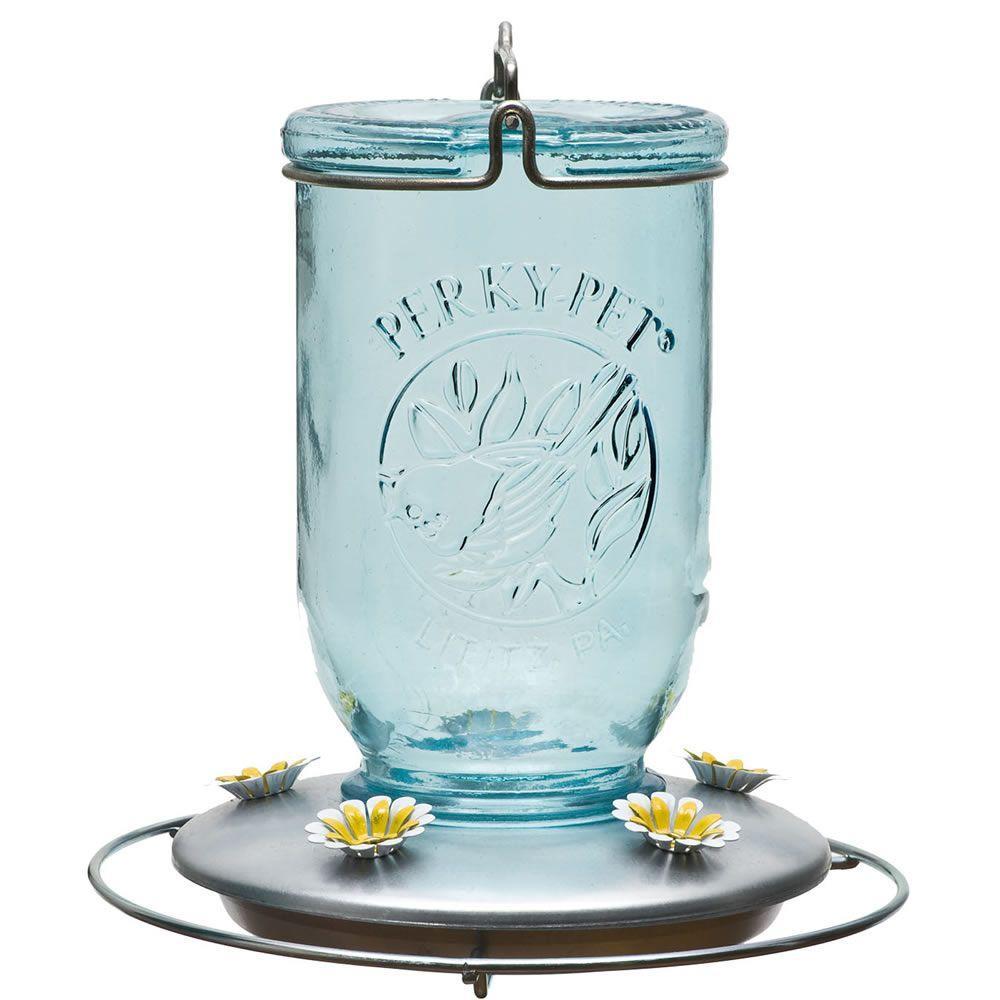 Blue Mason Jar Decorative Glass Hummingbird Feeder - 32 oz. Capacity