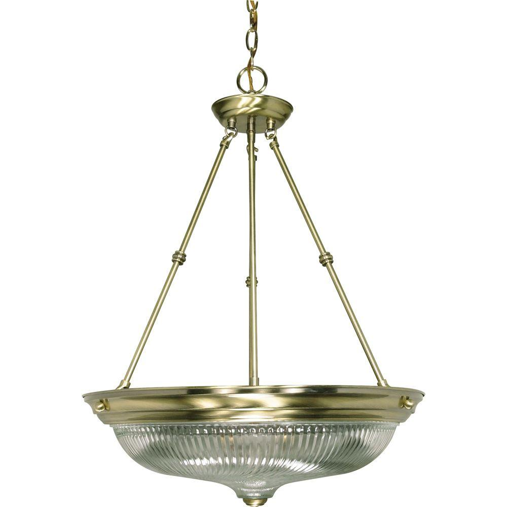 Vintage Brass Track Lighting: Glomar 3-Light Antique Brass Pendant With Clear Swirl