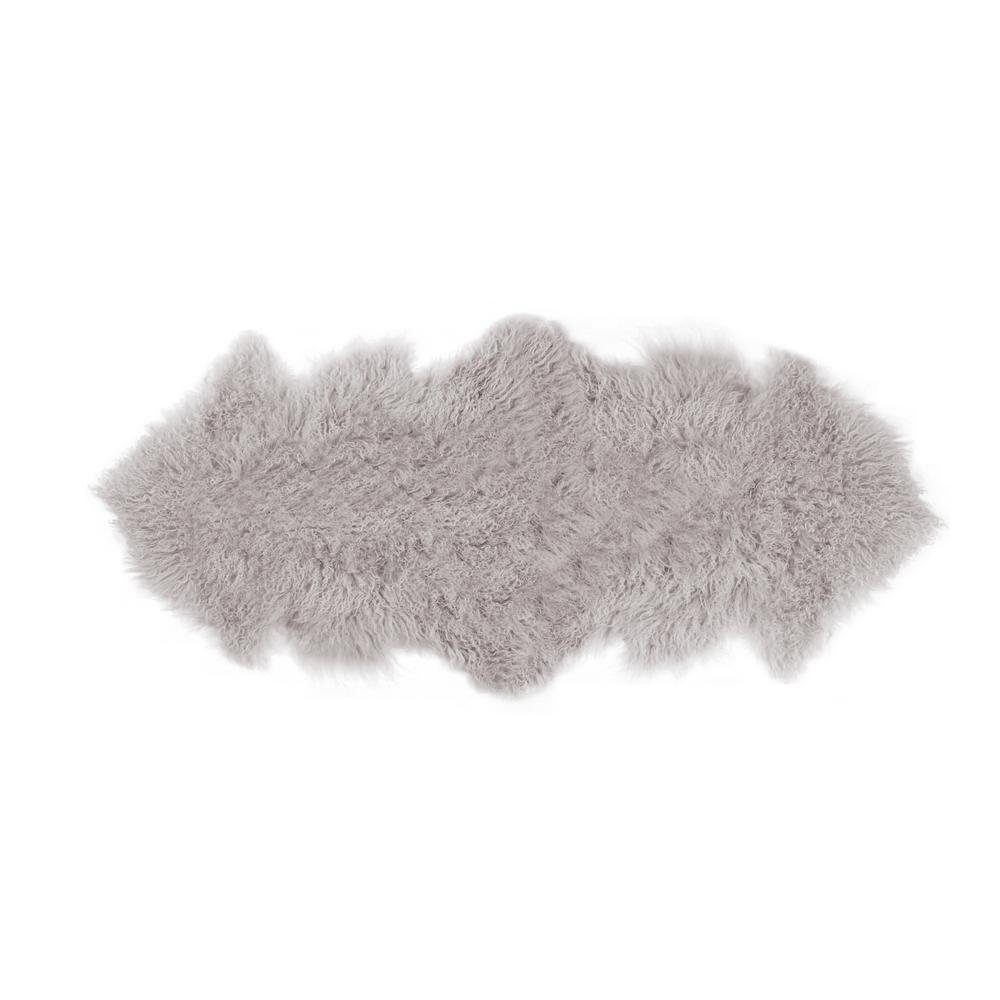 Rockwall Sage Gray 2 ft. x 6 ft. Mongolian Sheepskin Faux Fur Double Indoor Area Rug
