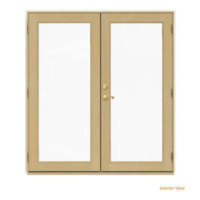 72 in. x 80 in. W-2500 Vanilla Clad Wood Left-Hand Full Lite French Patio Door w/Unfinished Interior