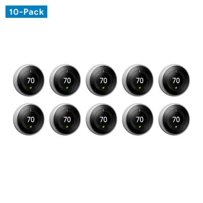 Nest Learning Thermostat 3rd Gen in Stainless Steel 10-pack