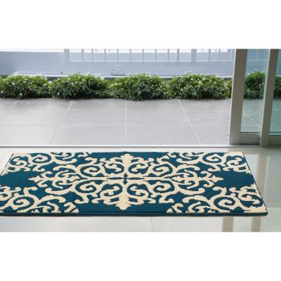 Lowell 36 x 60 in. Loop Accent Rug, Peacock Blue/Ivory