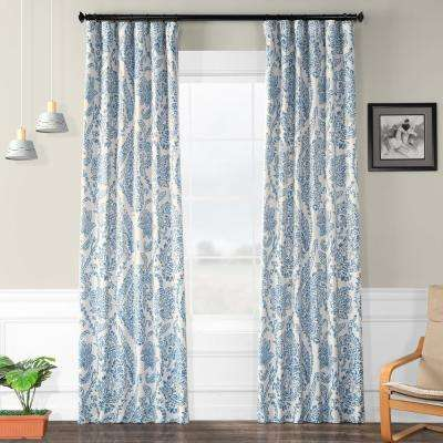 Semi-Opaque Tea Time China Blue Blackout Curtain - 50 in. W x 84 in. L (Panel)