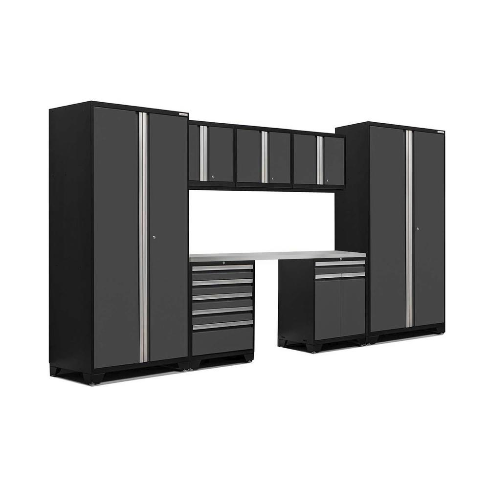 NewAge Products Pro 3 Series 85 in. H x 156 in. W x 24 in. D 18-Gauge Welded Steel Stainless Steel Worktop Cabinet Set in Gray (8-Piece)