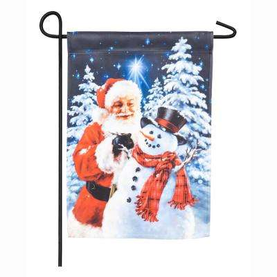 18 in. x 12.5 in. Santa Builds A Snowman Garden Satin Flag