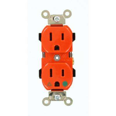 15 Amp Hospital Grade Extra Heavy Duty Isolated Ground Duplex Outlet, Orange