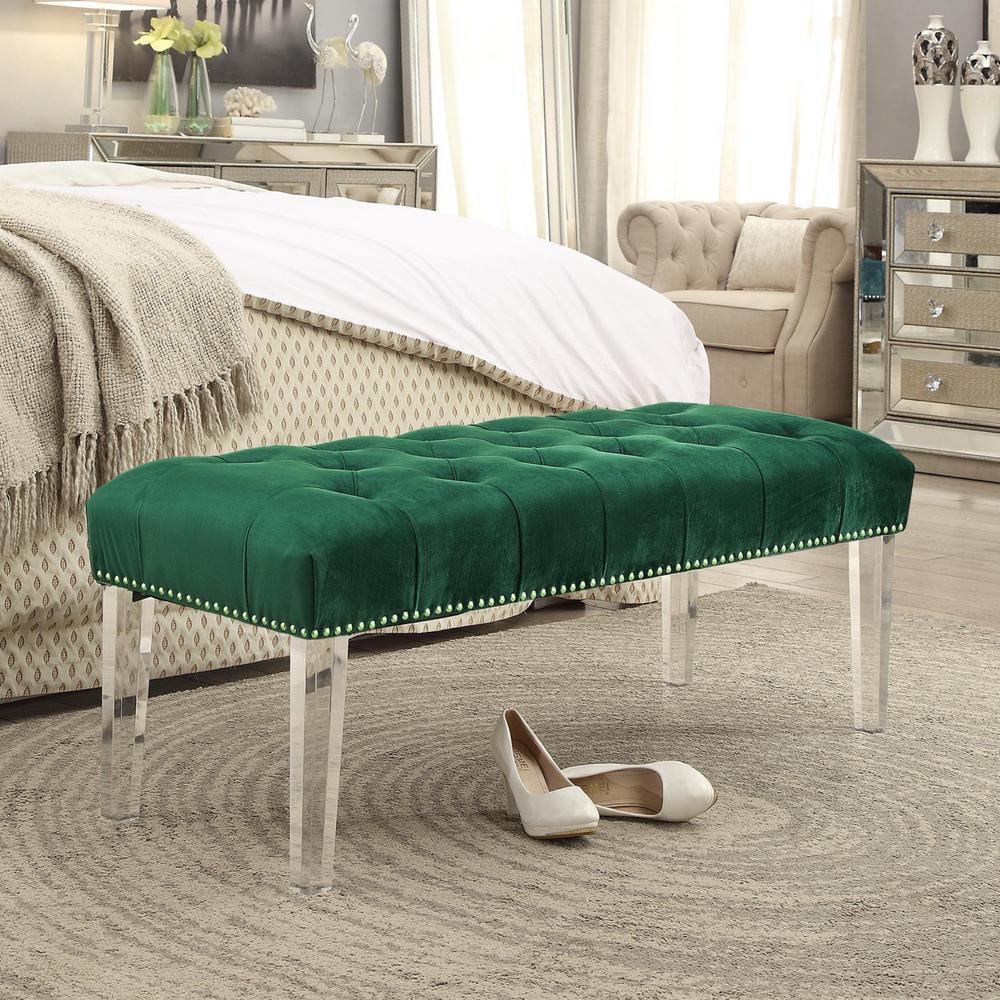 Willow Green/Silver Velvet Ottoman Bench with Button Tufted Nailhead Trim Acrylic Leg