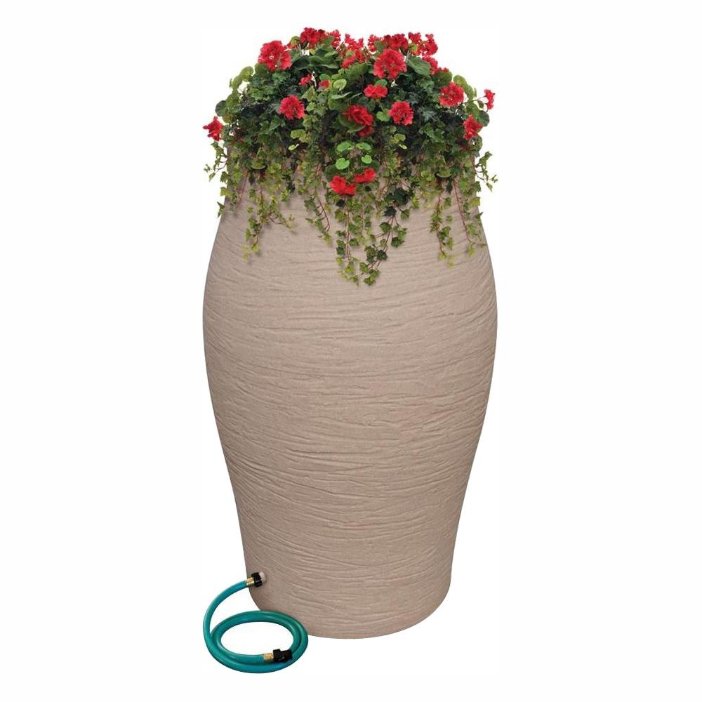 RESCUE 50 Gal. Sandstone Water Urn Flat-Back Rain Barrel with Integrated Planter and Diverter Kit