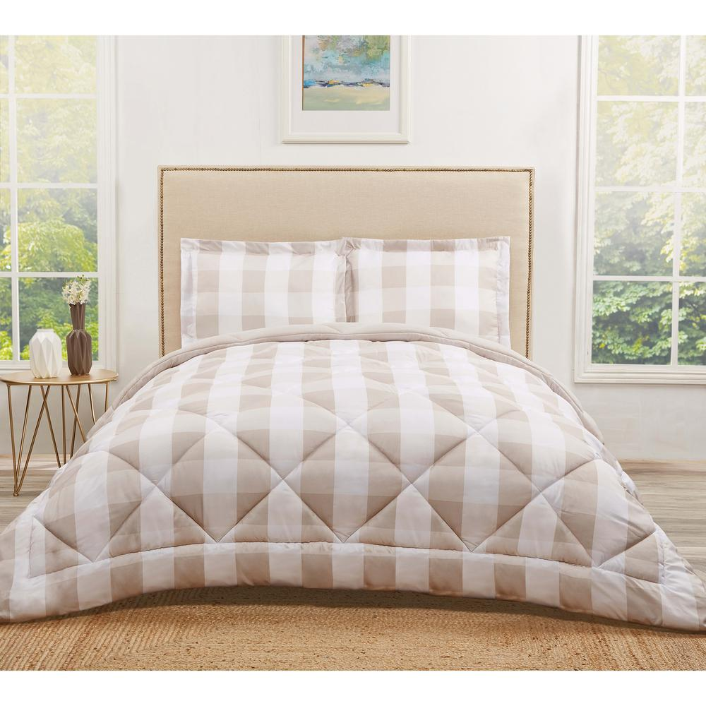 truly soft buffalo plaid khaki twin xl comforter set cs2093khtx 1500 the home depot. Black Bedroom Furniture Sets. Home Design Ideas