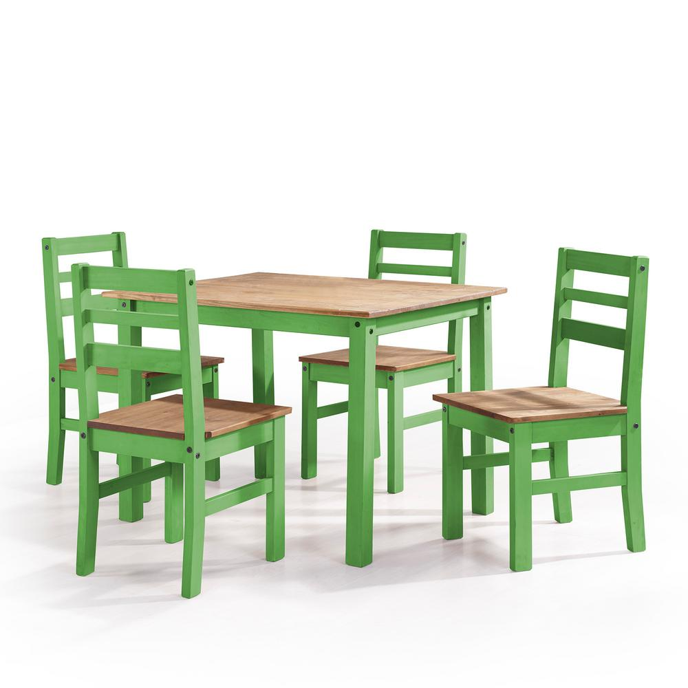 Manhattan Comfort Maiden 5 Piece Green Wash Solid Wood Dining Set With  1 Table