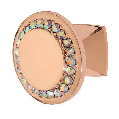 Isabel 1-1/4 in. Rose Gold with Multi-Color Crystal Cabinet Knob