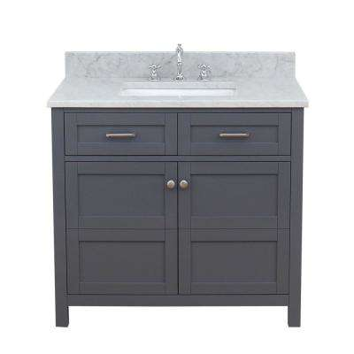 Vancouver 37 in. W x 34 in. H Bath Vanity in Gray with Marble Vanity Top in White with White Basin