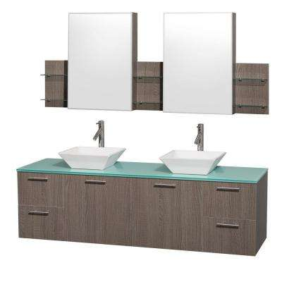 Amare 72 in. Double Vanity in Grey Oak with Glass Vanity Top in Aqua and White Porcelain Sinks and Mirror