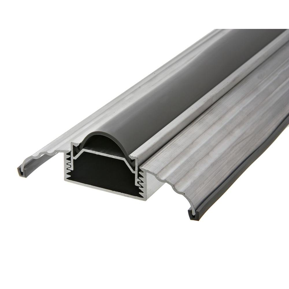 Frost king e o 3 1 2 in wide x 36 in silver adjustable height threshold dat39h the home depot for How to install a threshold for an exterior door