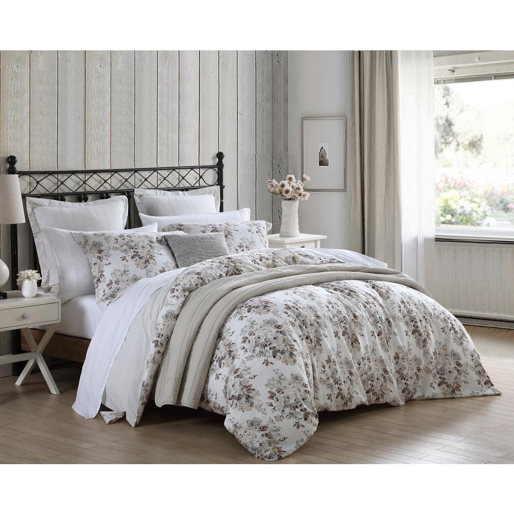 Berrie Floral 6-Piece Brown Cotton Full/Queen Comforter Set