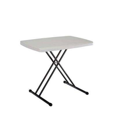 30 in. Almond Plastic Adjustable Height Folding Personal Table