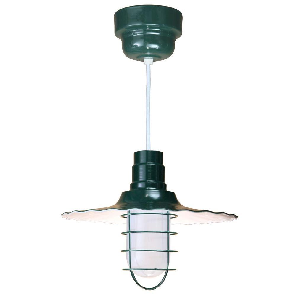 1-Light Ceiling Green Fluorescent Pendant